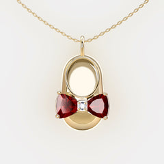 14K Yellow Gold Diamond and Garnet Baby Shoe Pendant