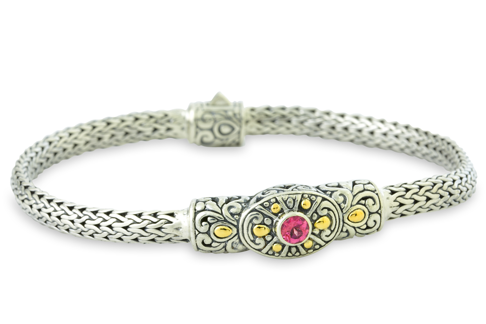 Pink Tourmaline Sterling Silver Woven Bracelet with 18K Gold Accents
