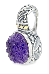 Carved Amethyst Sterling Silver Pendant with 18K Gold Accents
