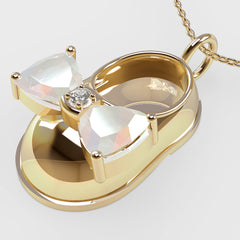 14K Yellow Gold Diamond and Opal Baby Shoe Pendant