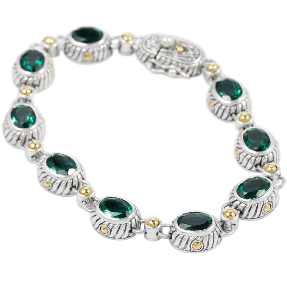 Green Quartz Sterling Silver Bracelet with 18K Gold Accents