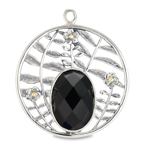 Black Onyx Pendant Set in Sterling Silver & 18K Gold Accents