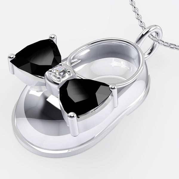 14K White Gold Diamond and Onyx Baby Shoe Pendant