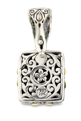 Carved Hematite and White Crystal Doublet Pendant Set in Sterling Silver & 18K Gold Accents