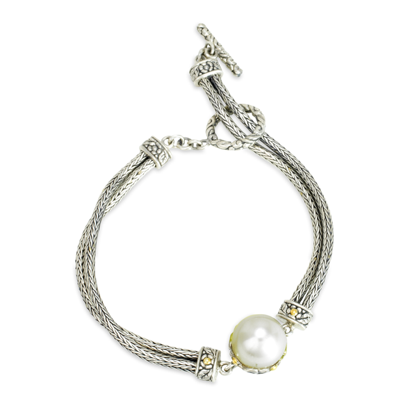 White Pearl Sterling Silver Bracelet with 18K Gold Accents