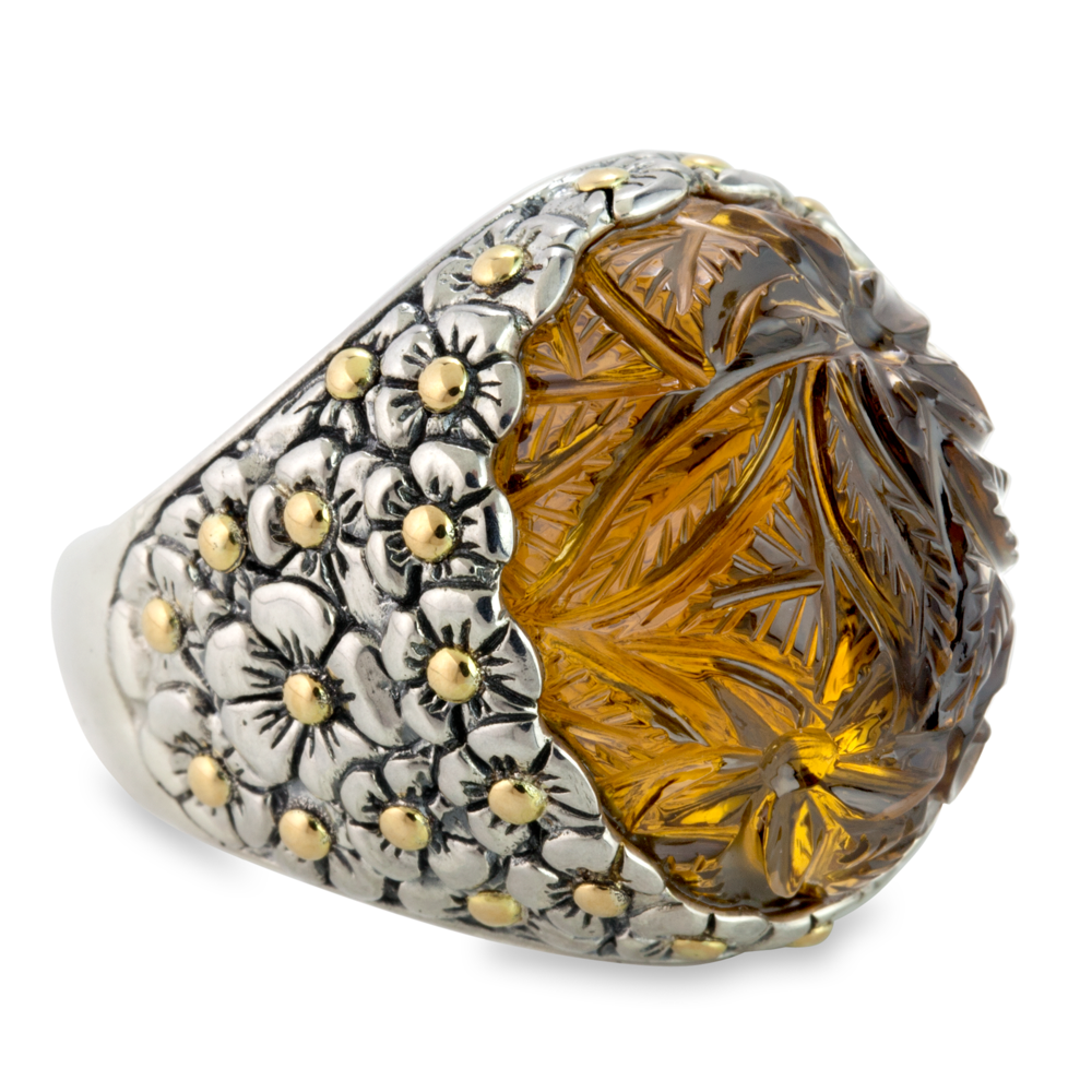"Carved Cognac Quartz Sterling Silver Ring with 18K Gold Accents ""Amber"""