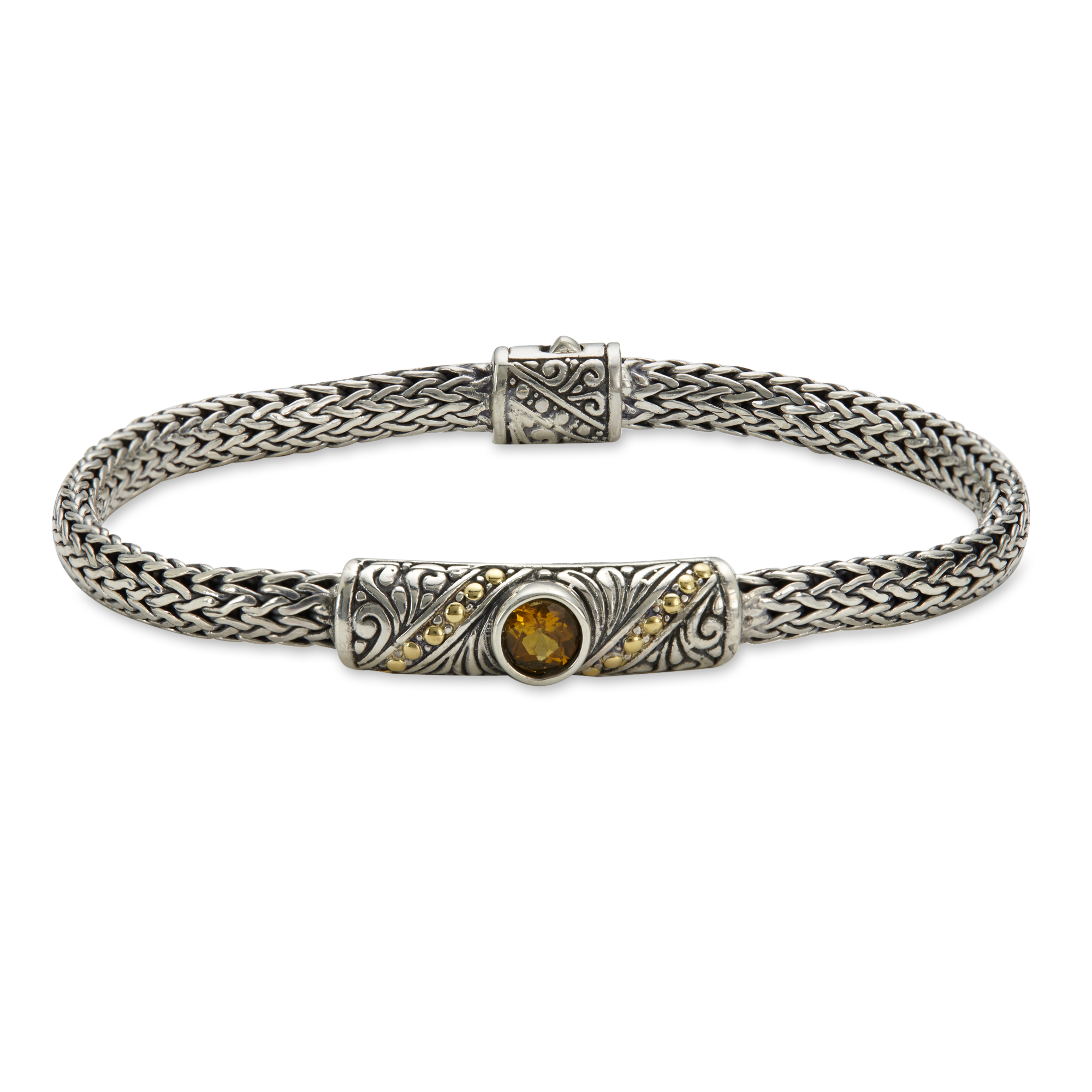 Citrine Sterling Silver Woven Bracelet with 18K Gold Accents