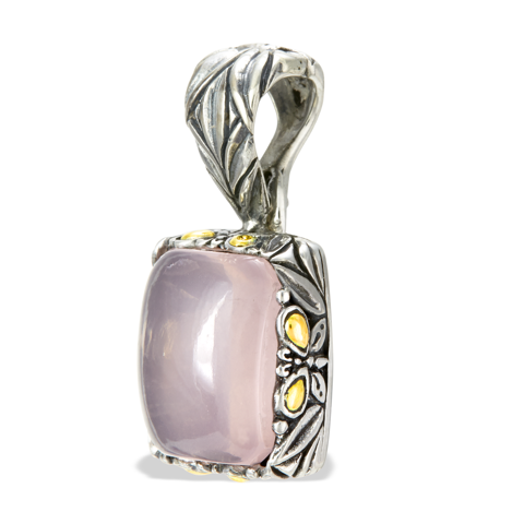 Rose Quartz Sterling Silver Pendant with 18K Gold Accents