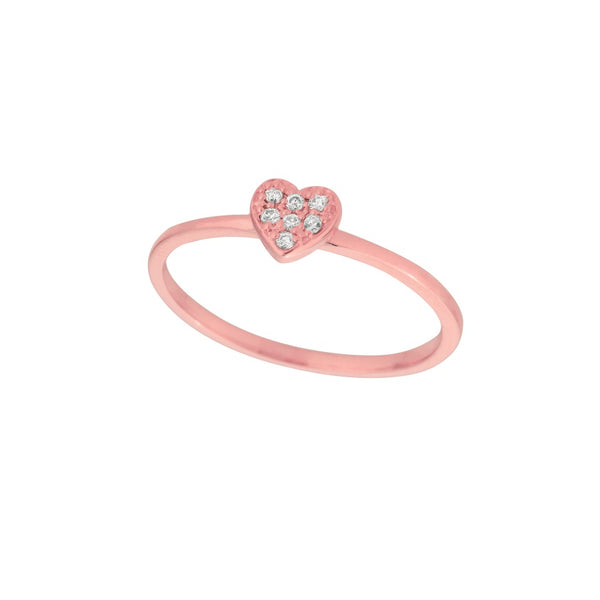 Diamond 14K Rose Gold Heart Ring