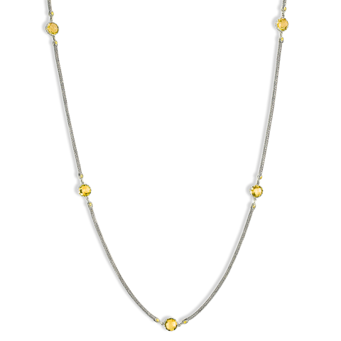 Citrine Sterling Silver Woven Station Necklace with 18K Gold Accents