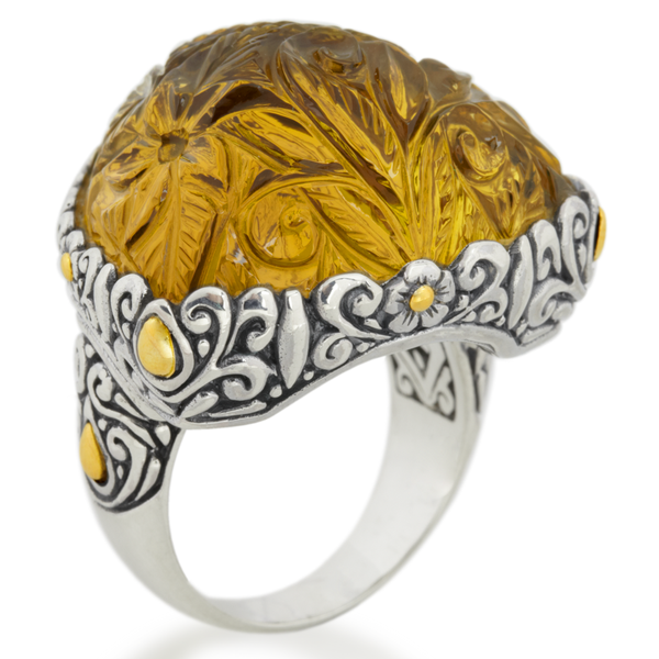 "Carved Citrine Ring Set in Sterling Silver & 18K Gold Accents ""Candice"""