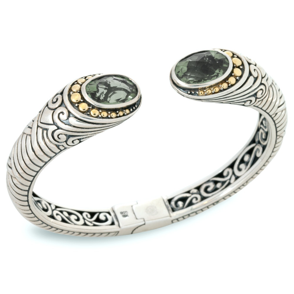 Green Amethyst Sterling Silver Bangle with 18K Gold Accents
