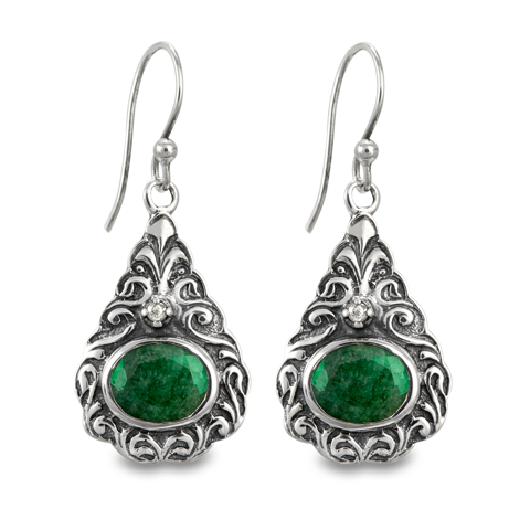 Diamond and Emerald Sterling Silver Earrings