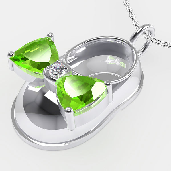 14K White Gold Diamond and Peridot Baby Shoe Pendant