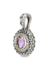 Sterling Silver Amethyst and Diamond Pendant with 18K Gold Accents