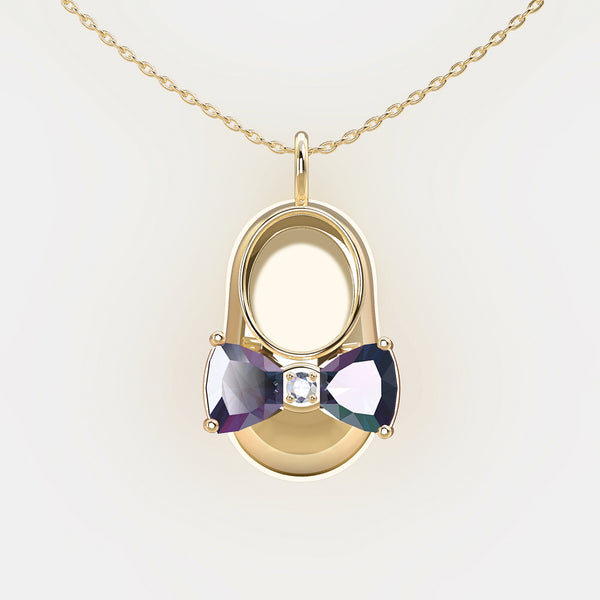 14K Yellow Gold Diamond and Alexandrite Baby Shoe Pendant