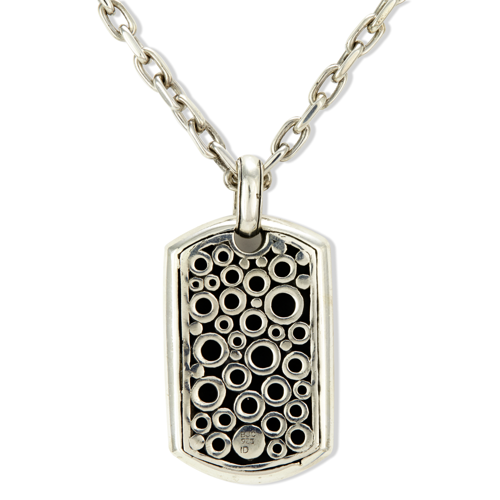 Sterling Silver Balinese Dog Tag Pendant Necklace