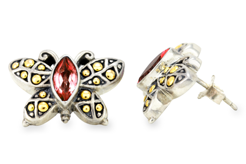 Garnet Sterling Silver Butterfly Earrings with 18K Gold Accents