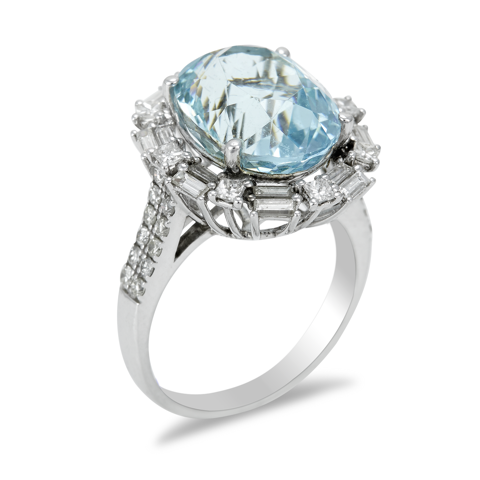 14K White Gold Diamond and Aquamarine Ring