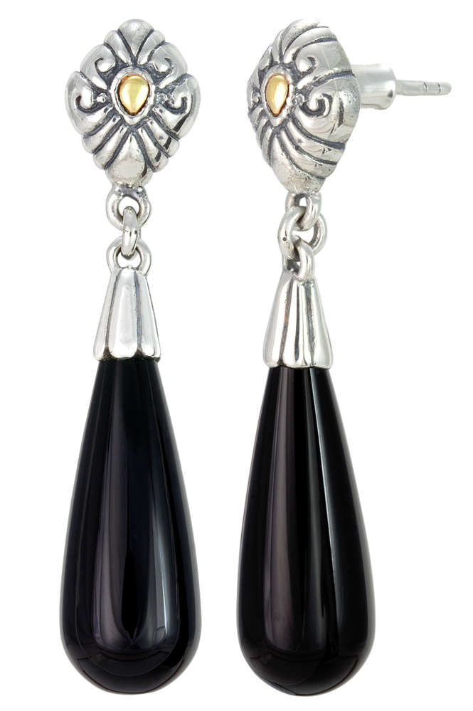 Drop Black Onyx Earrings Set in Silver and 18K Gold Accents