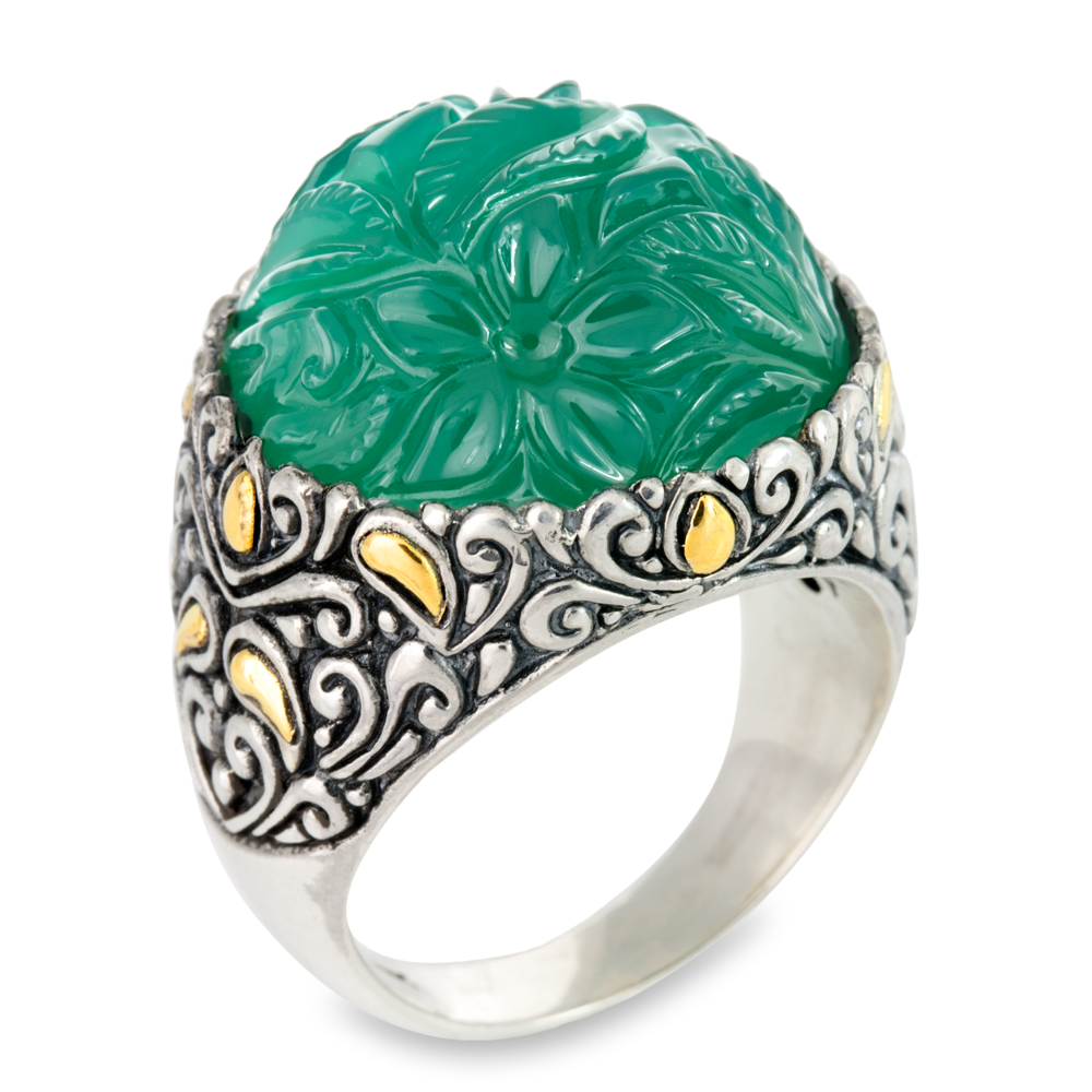 Carved Green Onyx Sterling Silver Ring with 18K Gold Accents