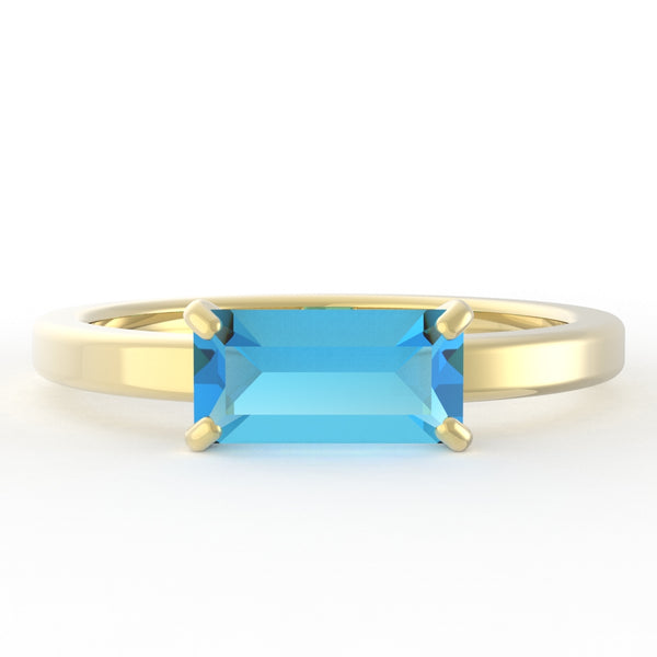 Blue Topaz Baguette 14K Yellow Gold Ring