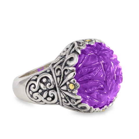 "Carved Amethyst Sterling Silver Ring with 18K Gold Accents ""Liz"""