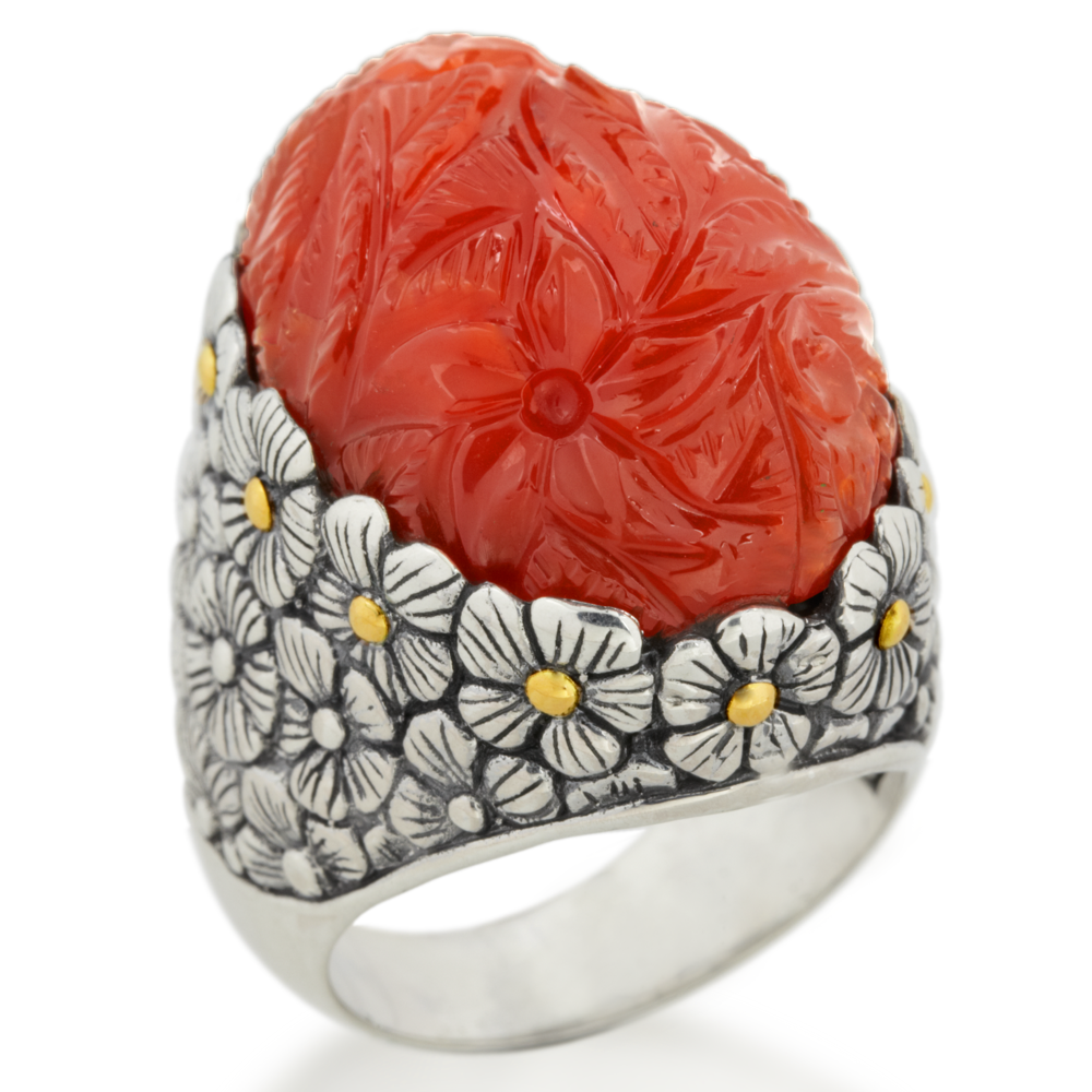 "Carved Carnelian Sterling Silver Ring with 18K Gold Accents ""Odessa"""