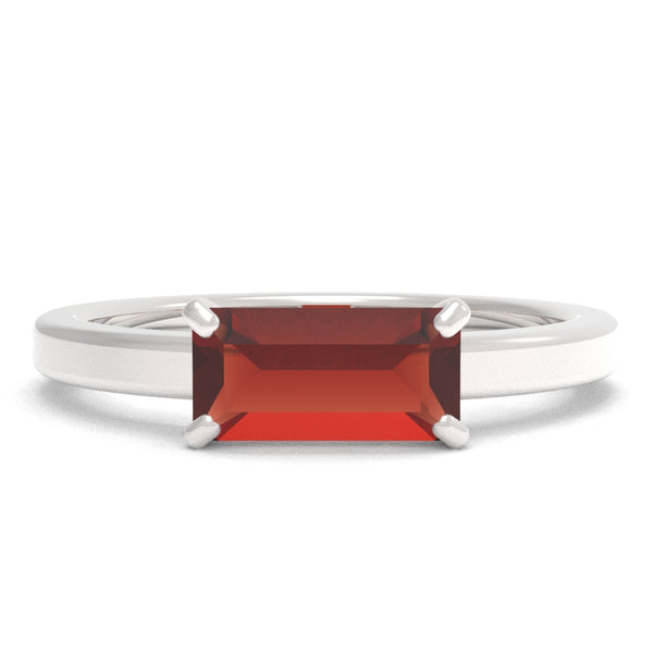 Garnet Baguette 14K White Gold Ring