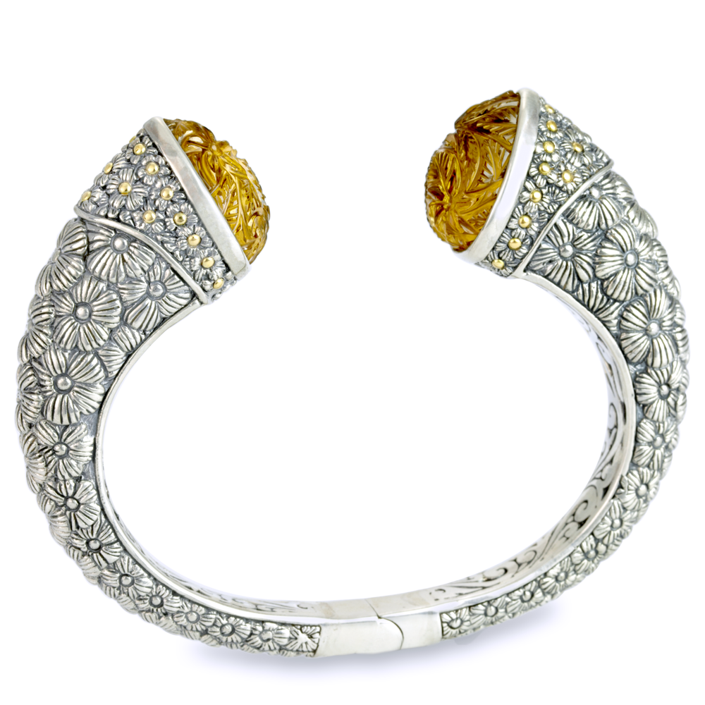 Carved Citrine Sterling Silver Hinged Bangle with 18K Gold Accents