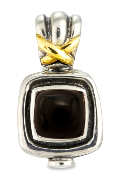 Square Black Onyx Sterling Silver Pendant with 18K Gold Accents