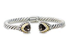 Smokey Quartz Twisted Cable Bangle Set in Sterling Silver & 18K Gold Accents