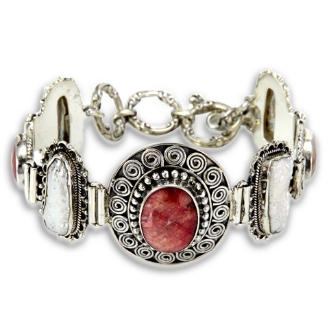 Ruby and Pearl Sterling Silver Bracelet