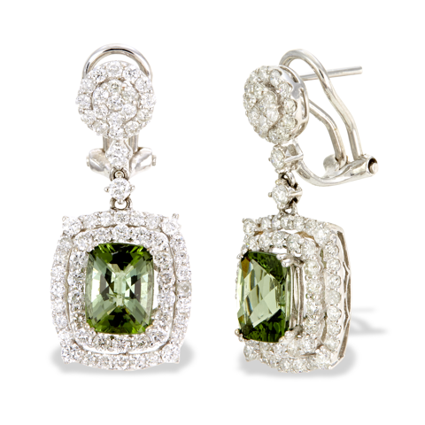 14K White Gold Diamond and Green Tourmaline Earrings
