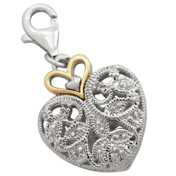 Diamond Heart Charm Pendant Set in Sterling Silver & 18K Gold Accents