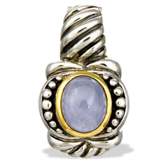 Chalcedony Sterling Silver Pendant with 14K Gold Accents