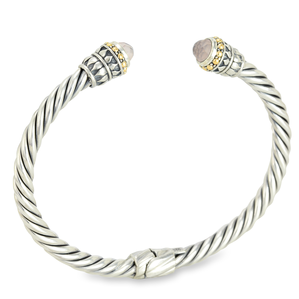 Rose Quartz Twisted Cable Sterling Silver Bangle with 18K Gold Accents
