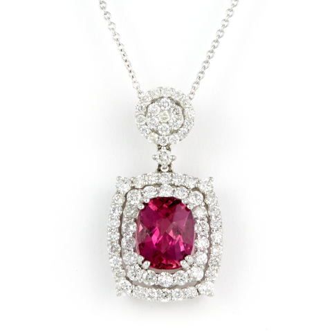18K White Gold Diamond and Pink Tourmaline Necklace