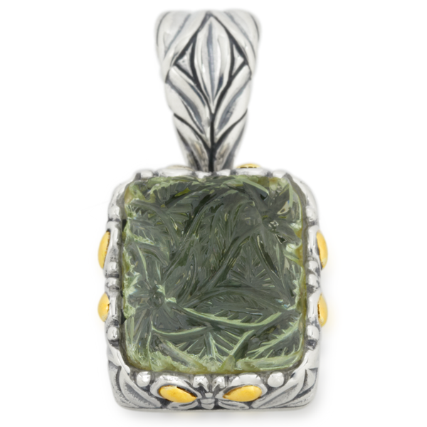 Carved Green Amethyst Sterling Silver Pendant with 18K Gold Accents