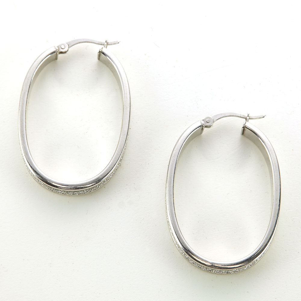 Silver Rhodium Textured Finish Oval Hoop Earrings
