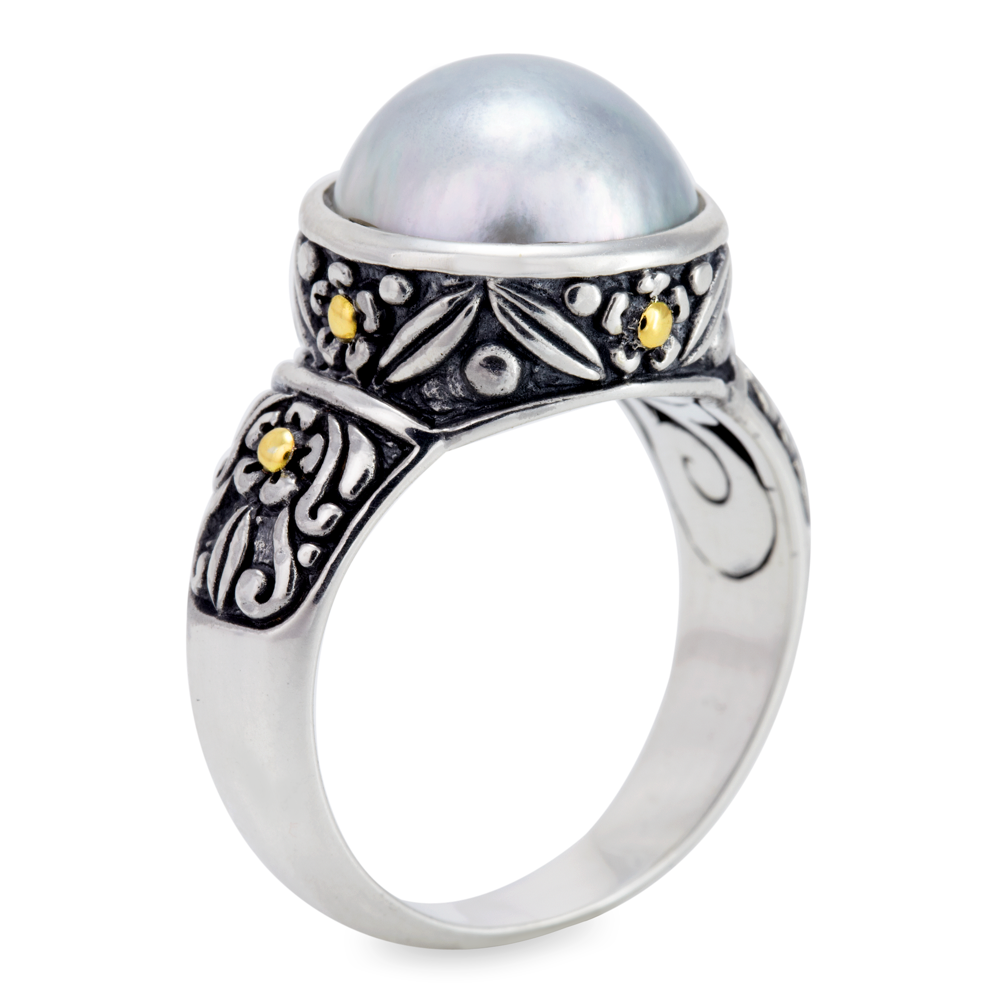 White Pearl Sterling Silver Ring with 18K Gold Accents