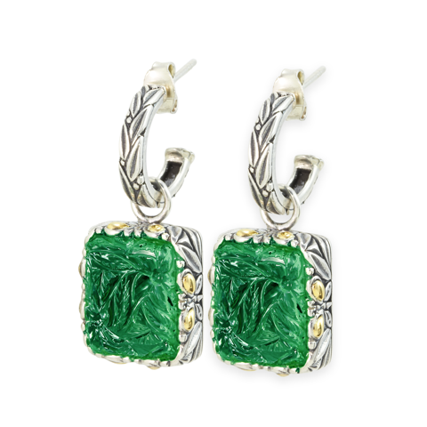 "Carved Green Onyx Earrings Set in Sterling Silver & 18K Gold Accents ""Gwen"""
