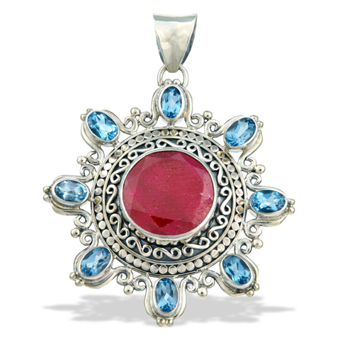 Ruby and Blue Topaz Sterling Silver Pendant