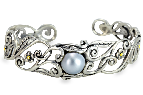 Mabe Pearl Floral Sterling Silver Cuff Bangle with 18K Gold Accents