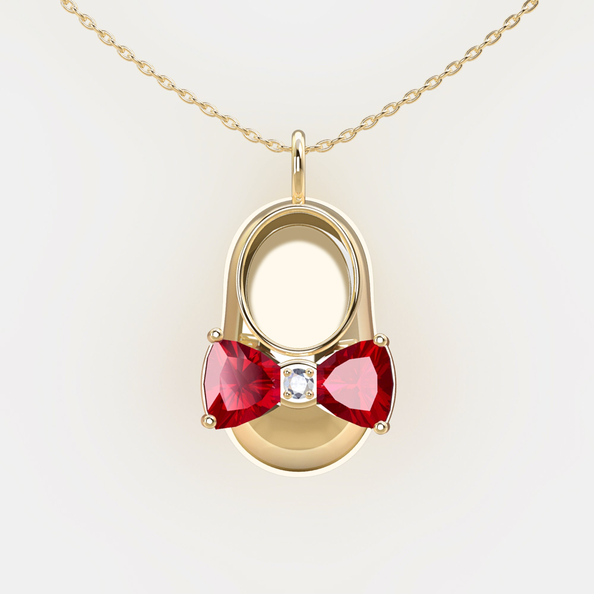 14K Yellow Gold Diamond and Ruby Baby Shoe Pendant