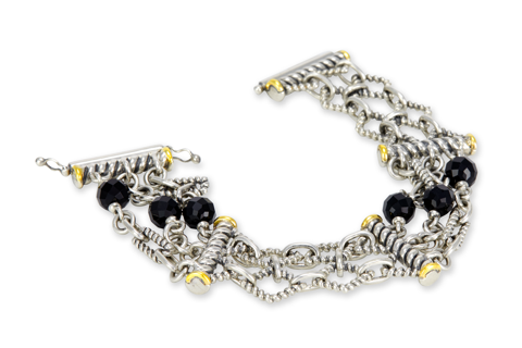 Black Onyx Sterling Silver Bracelet with 18K Gold Accents
