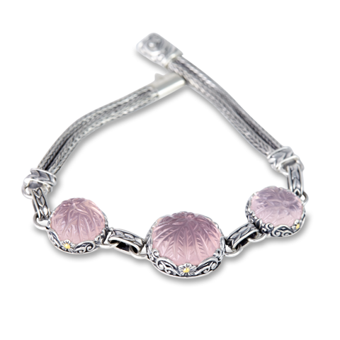 Carved Rose Quartz Sterling Silver Bracelet with 18K Gold Accents