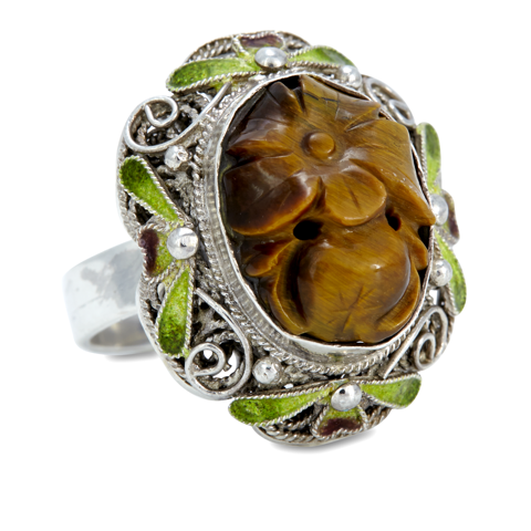 Tiger Eye and Multi Gemstone Sterling Silver Ring
