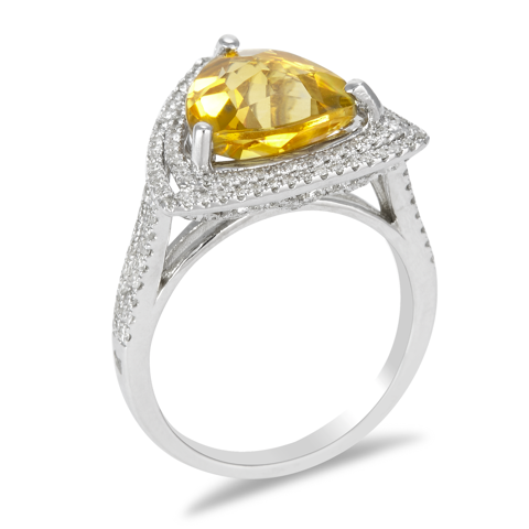 14K White Gold Diamond and Citrine Ring