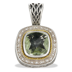 Diamond and Green Amethyst Sterling Silver Pendant with 18K Gold Accents